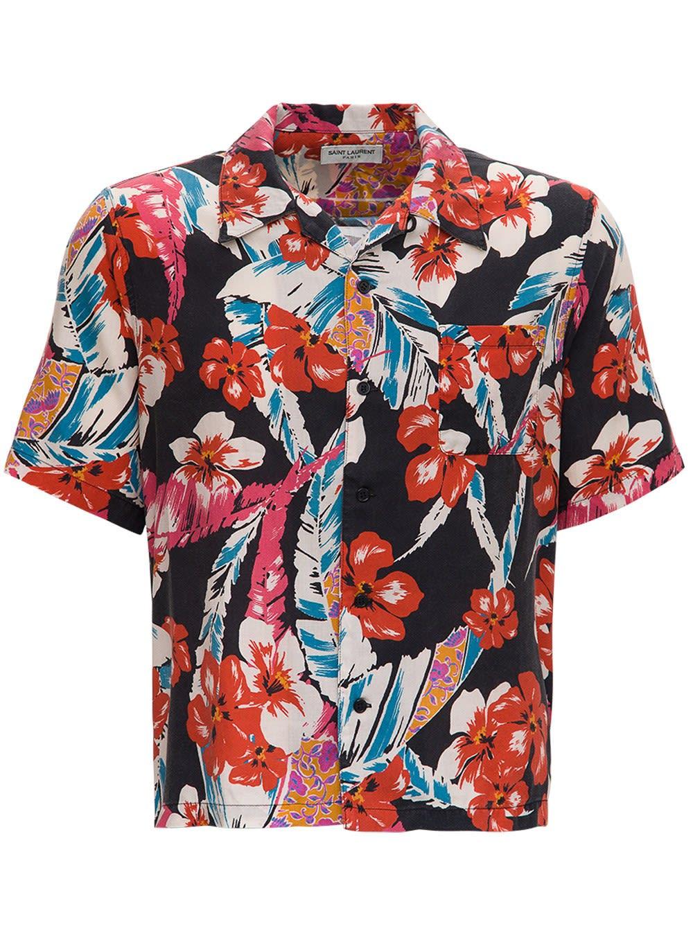Saint Laurent Clothing LYOCELL MULTICOLOR HAWAIIAN SHIRT
