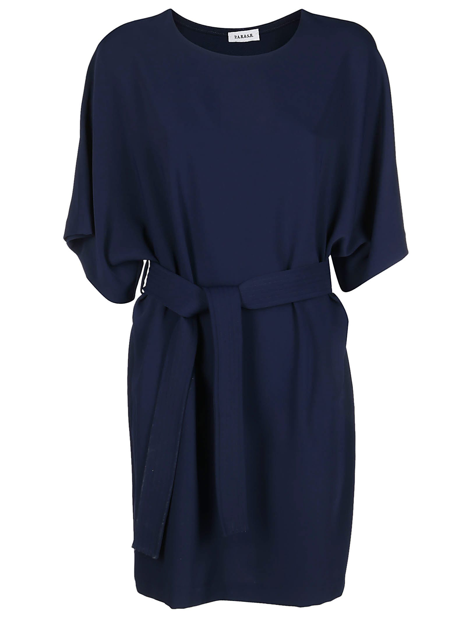 Buy Parosh Blue Belted Dress online, shop Parosh with free shipping