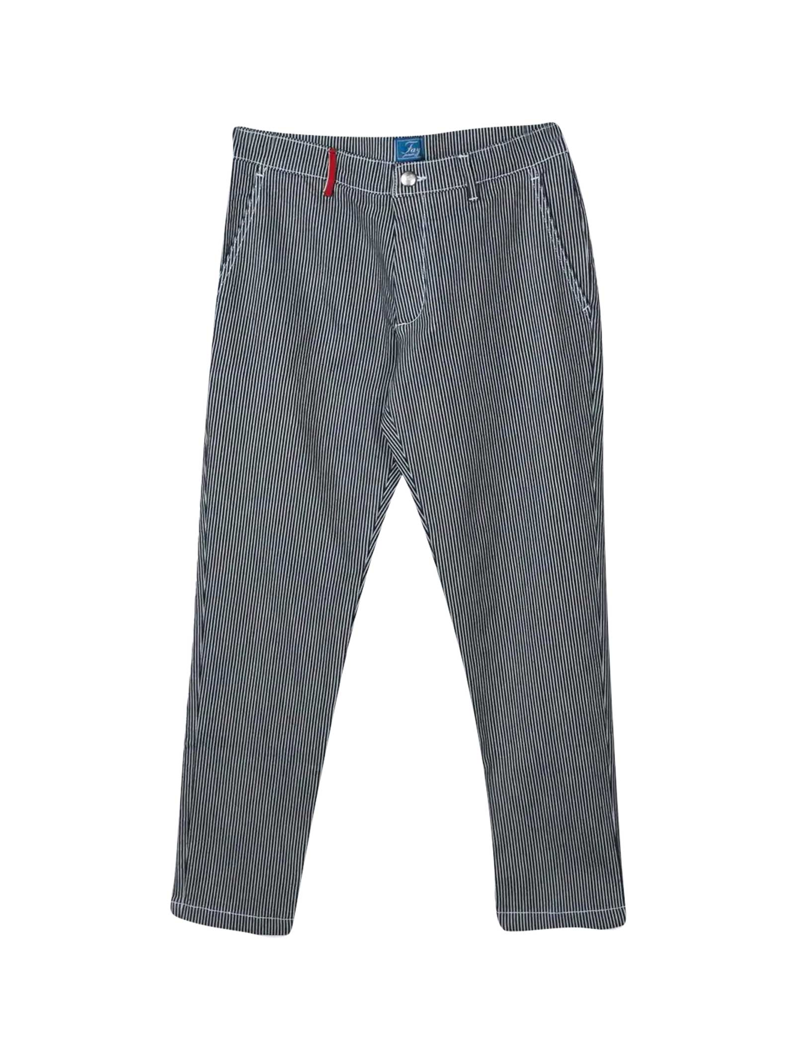 Fay Kids' Stripes Print Trousers In Blu/bianco