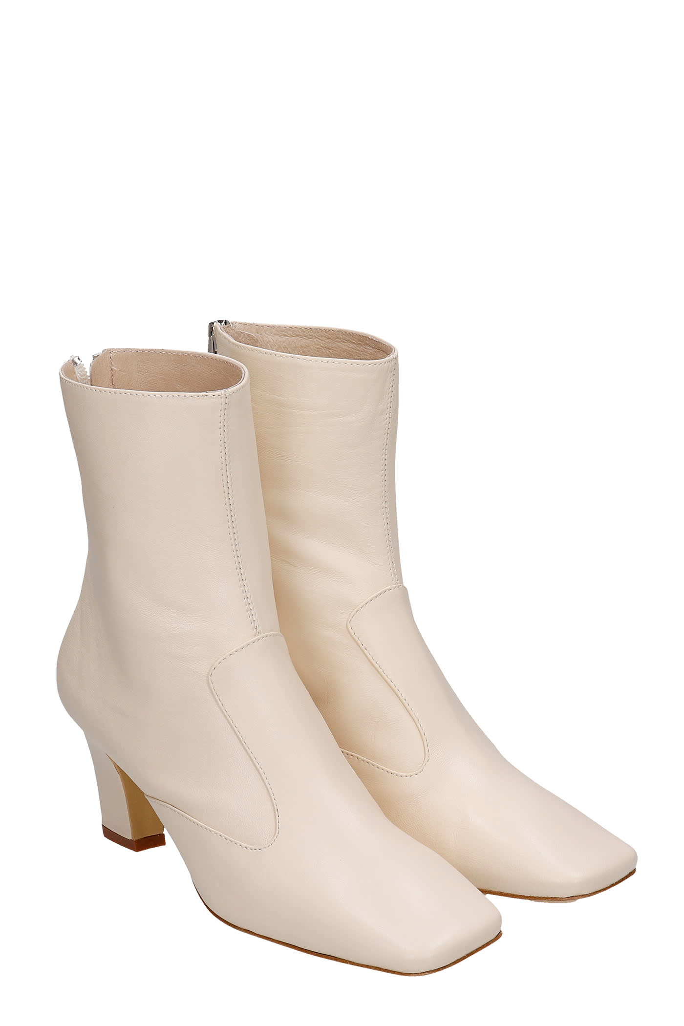 High Heels Ankle Boots In Beige Leather