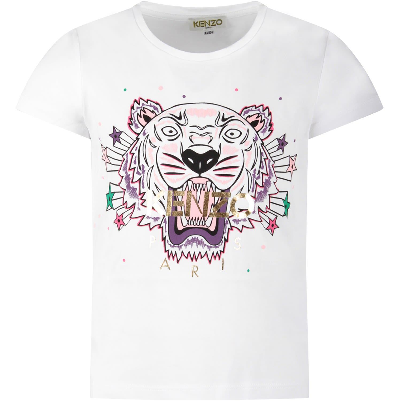 50b6edbe Kenzo Kids White Girl T-shirt With Iconic Tiger And Gold Logo