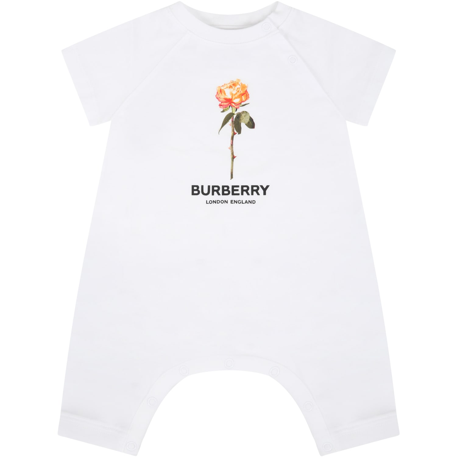 Burberry Cottons WHITE ROMPER FOR BABYGIRL WITH ROSE