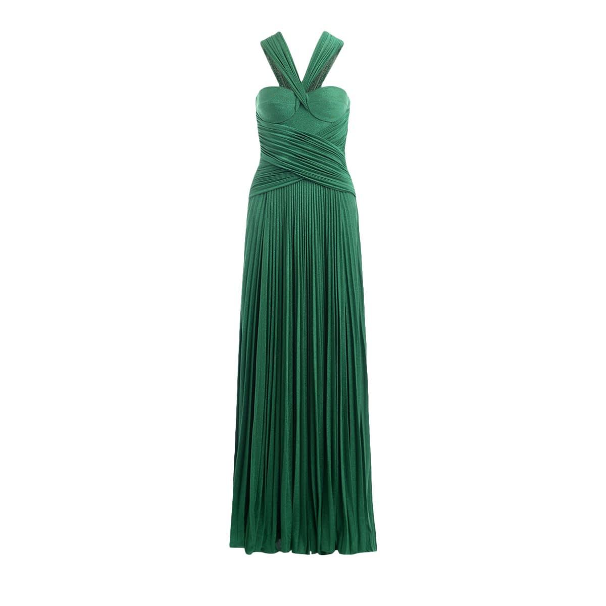 Buy Maxi Dress Elisabetta Franchi Emerald Green With Plissé online, shop Elisabetta Franchi Celyn B. with free shipping