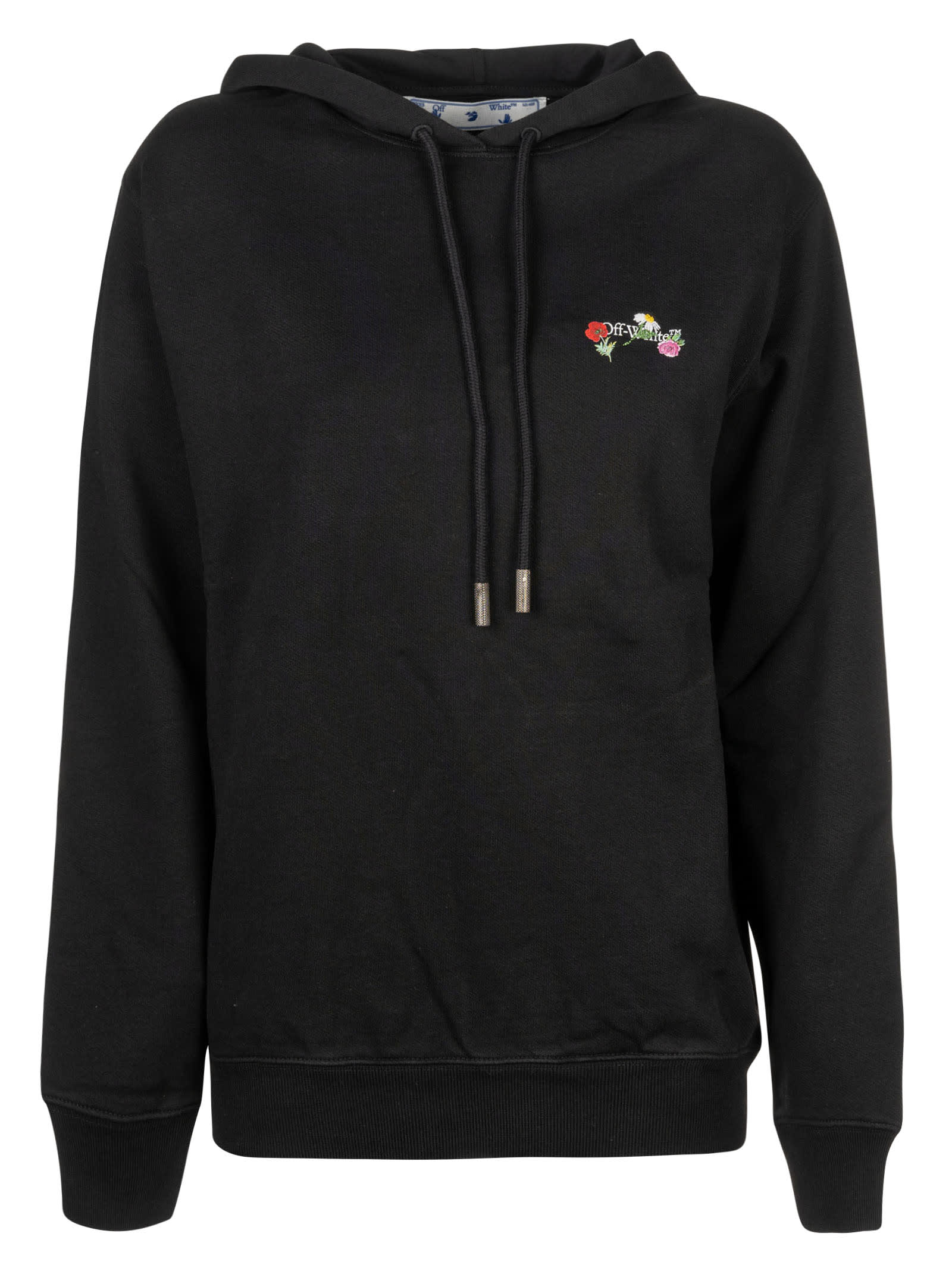 Off-White Embroidered Arrow Flowers Regular Hoodie