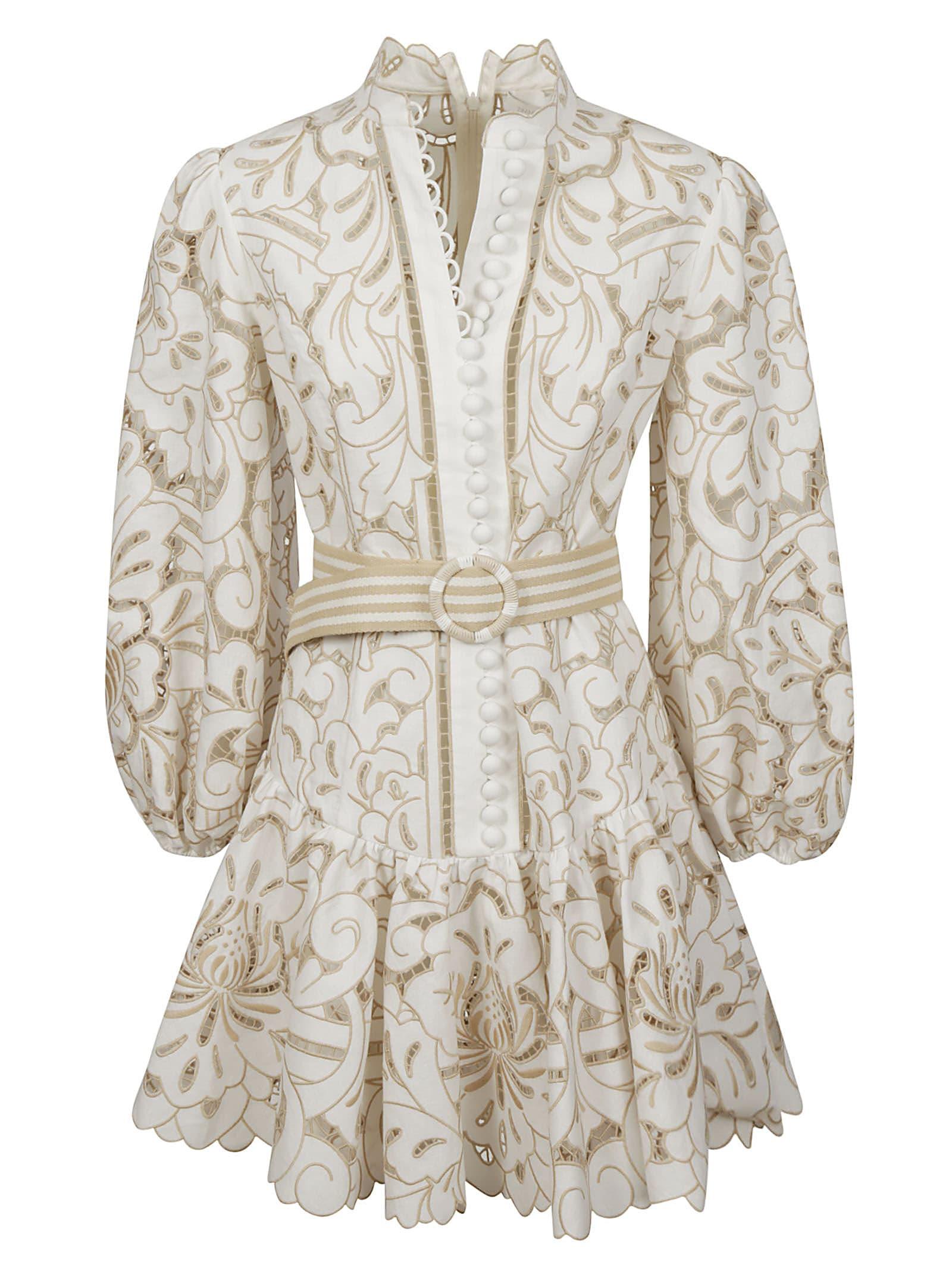 Buy Zimmermann Edie Button Down Short Dress online, shop Zimmermann with free shipping
