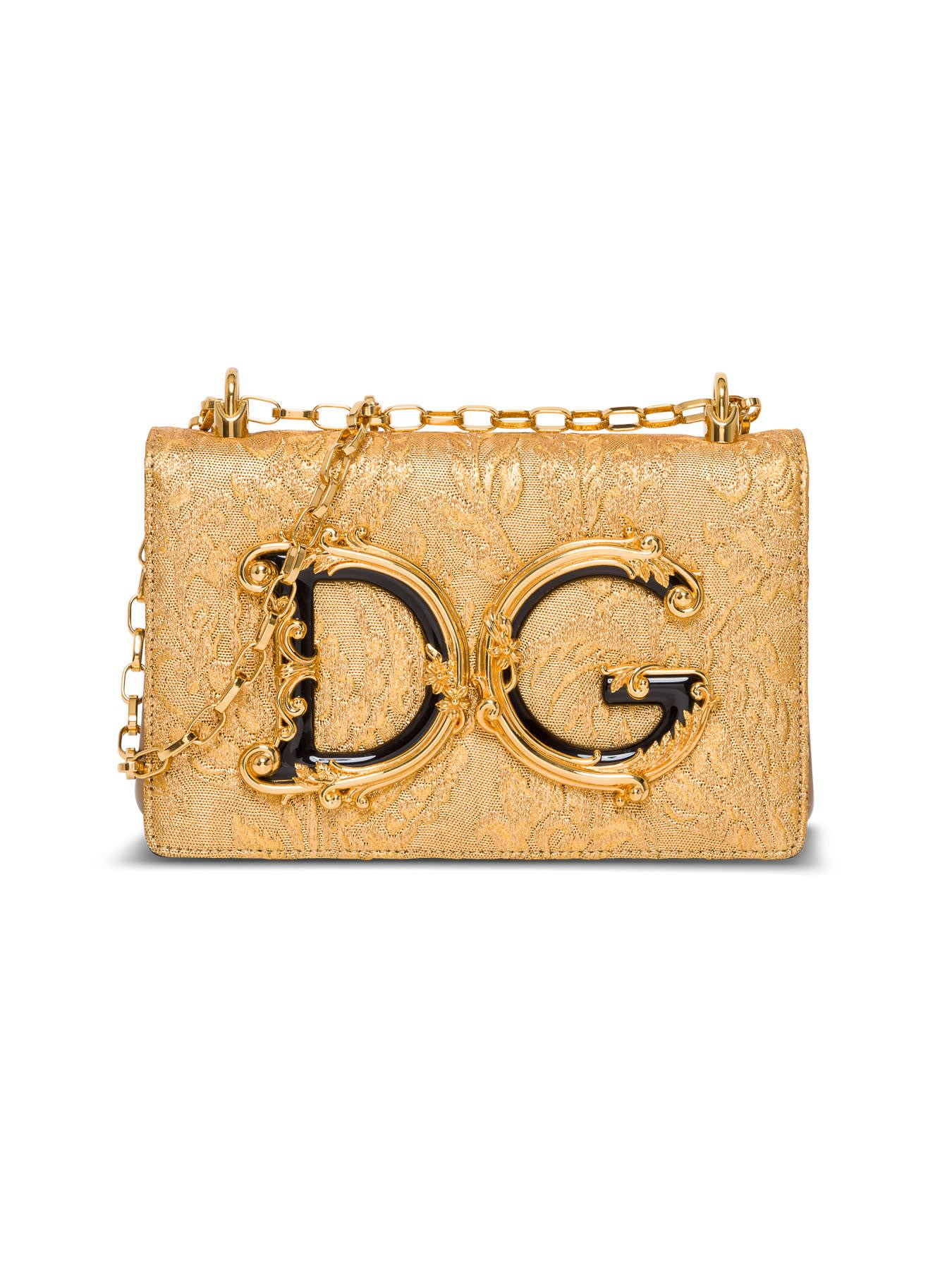 Dolce & Gabbana DG GIRL CROSSBODY BAG IN GOLD-COLORED BROCADE