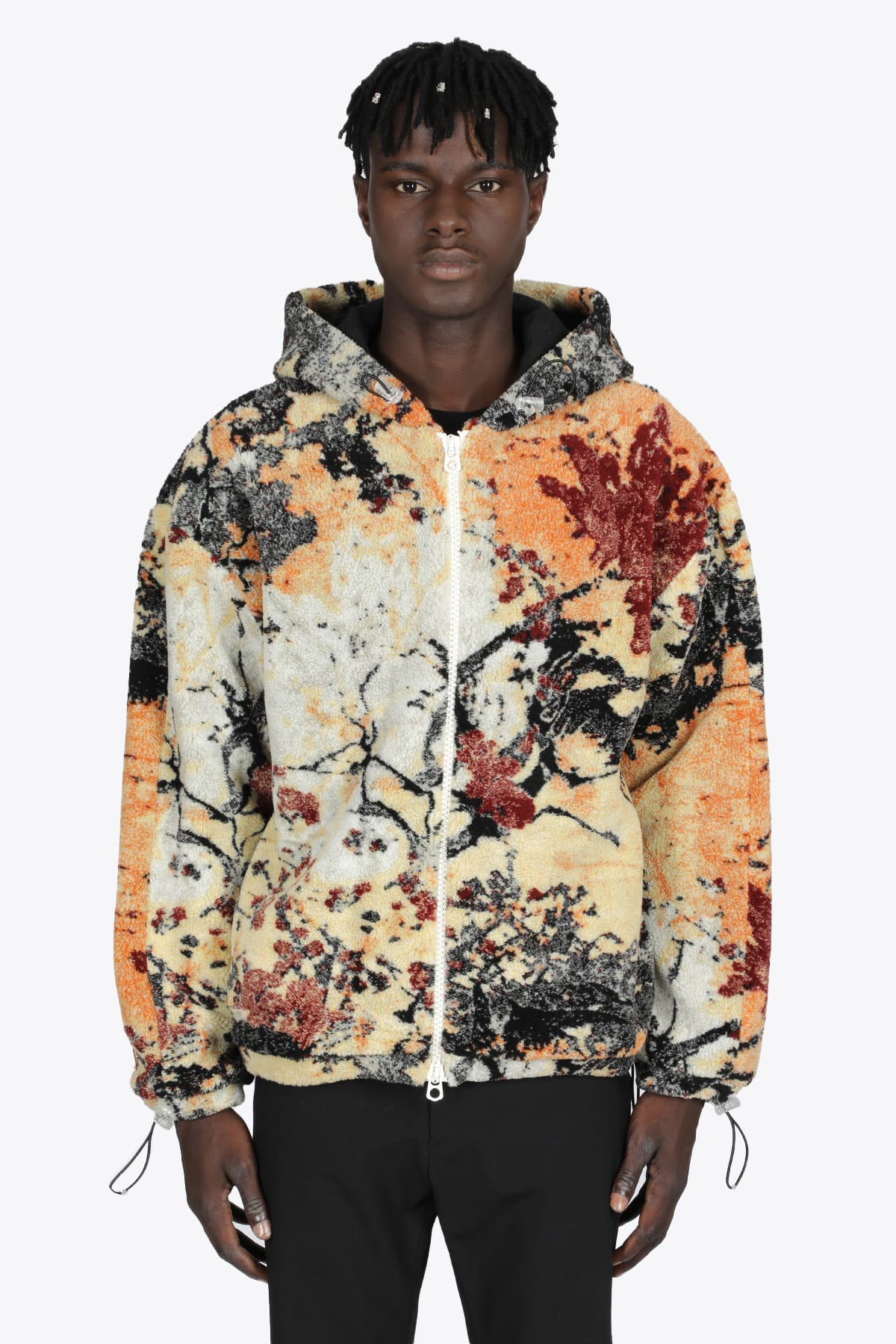Multicolor Autumn Leaves Fleece Hooded Jacket