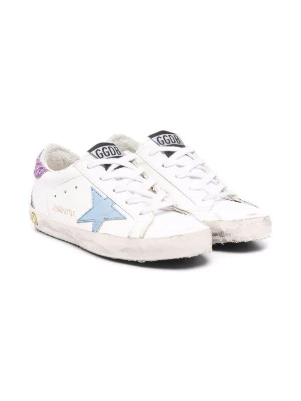 Golden Goose Junior White Super-star Sneakers With Light Blue Star And Purple Glitter Spoiler