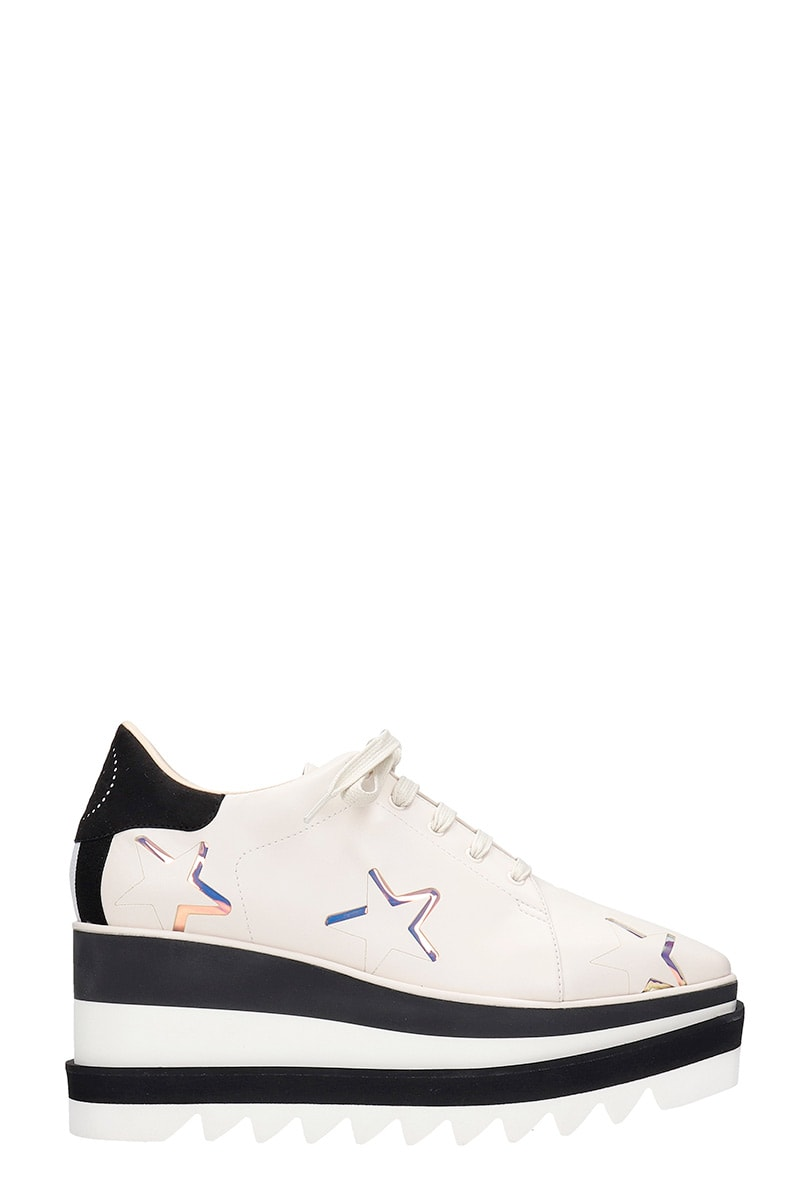 Stella McCartney Elyse Lace Up Shoes In Beige Faux Leather
