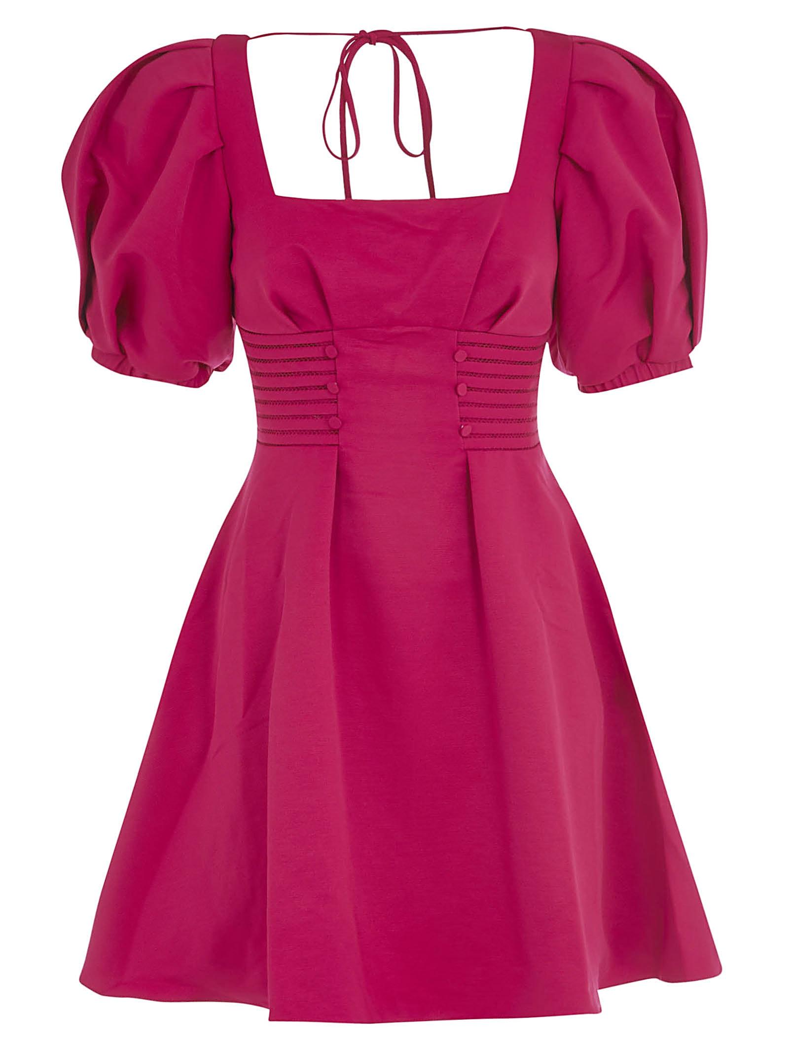 Buy self-portrait Fuchsia Ottoman Square Neck Mini Dress online, shop self-portrait with free shipping