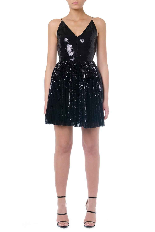Buy MSGM Black Plissé Sequins Mini Dress online, shop MSGM with free shipping