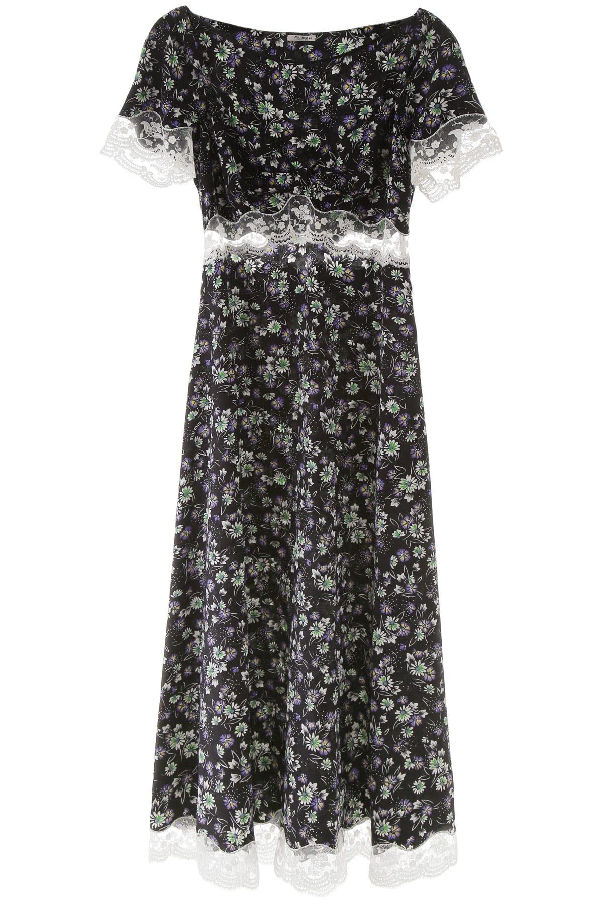 Buy Miu Miu Floral-printed Dress With Lace online, shop Miu Miu with free shipping