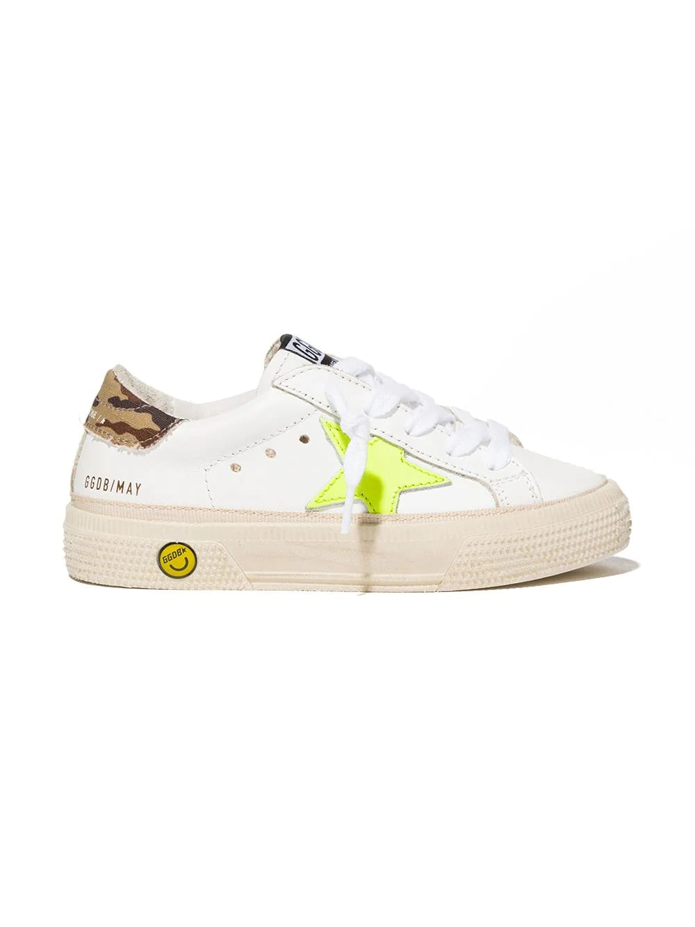 Golden Goose Juniro White May Sneakers With Fluo Star And Camouflage Spoiler