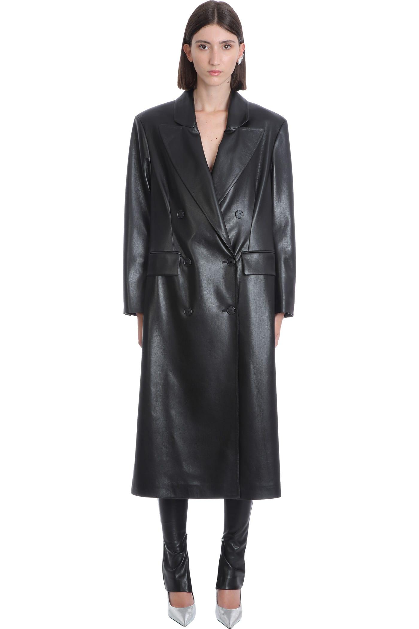 Halston Coat In Black Polyamide