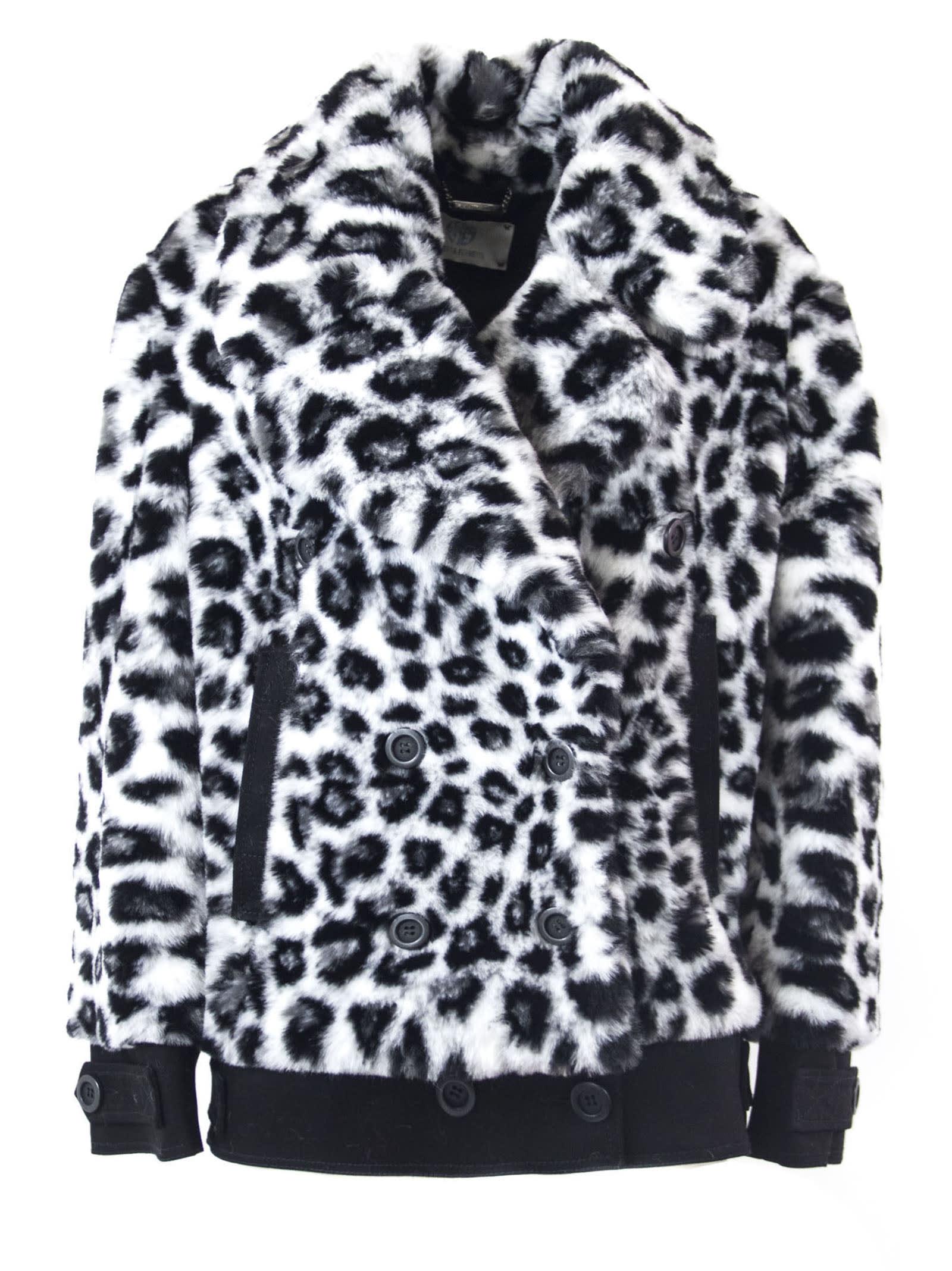 Alberta Ferretti Faux Fur In Black And White Cotton