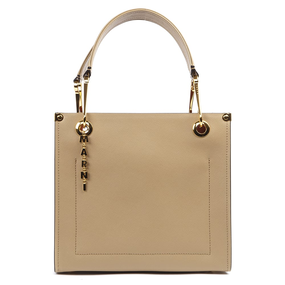 Marni Beige And White Leather Grip Bag