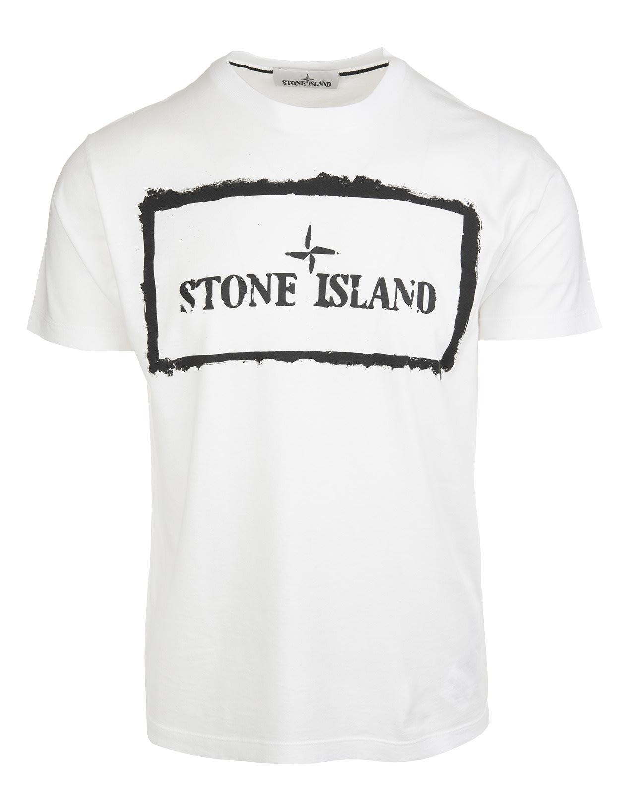 Stone Island Cottons WHITE COTTON LOGO-PRINT T-SHIRT
