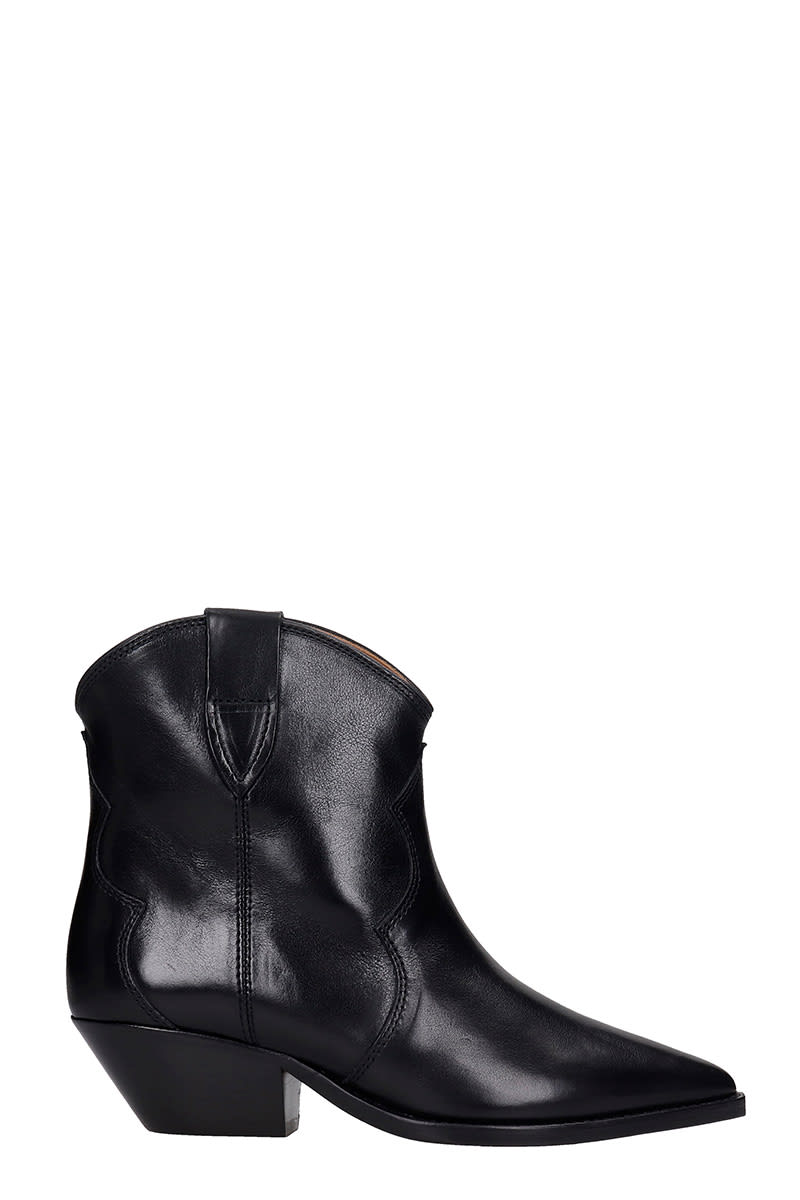Buy Isabel Marant Dewina Texan Ankle Boots In Black Leather online, shop Isabel Marant shoes with free shipping