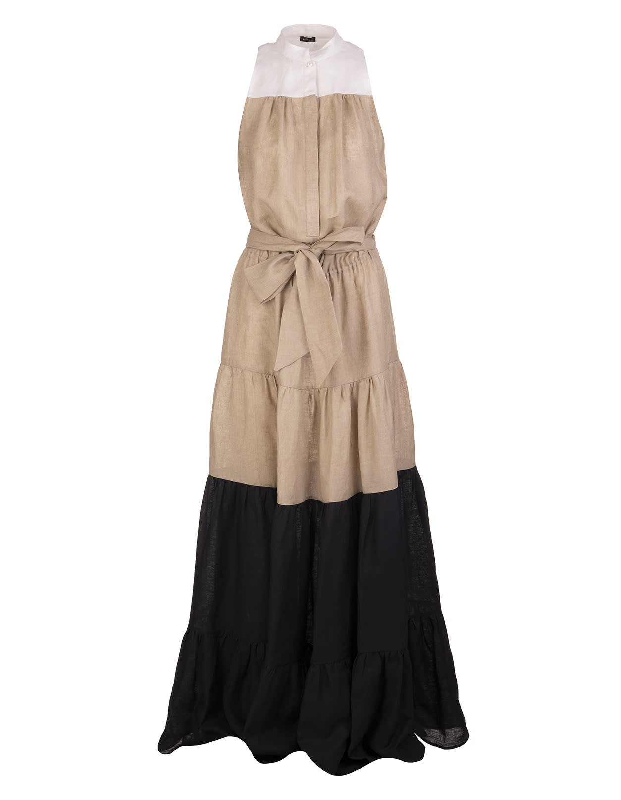 Buy White/beige/black Linen Sleeveless Tiered Maxi Dress online, shop Kiton with free shipping