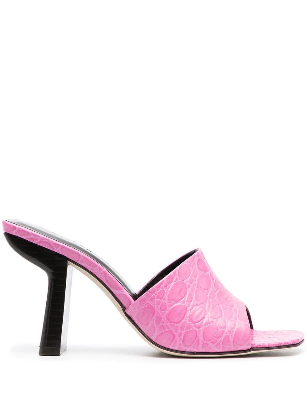 By Far PINK LEATHER MULES