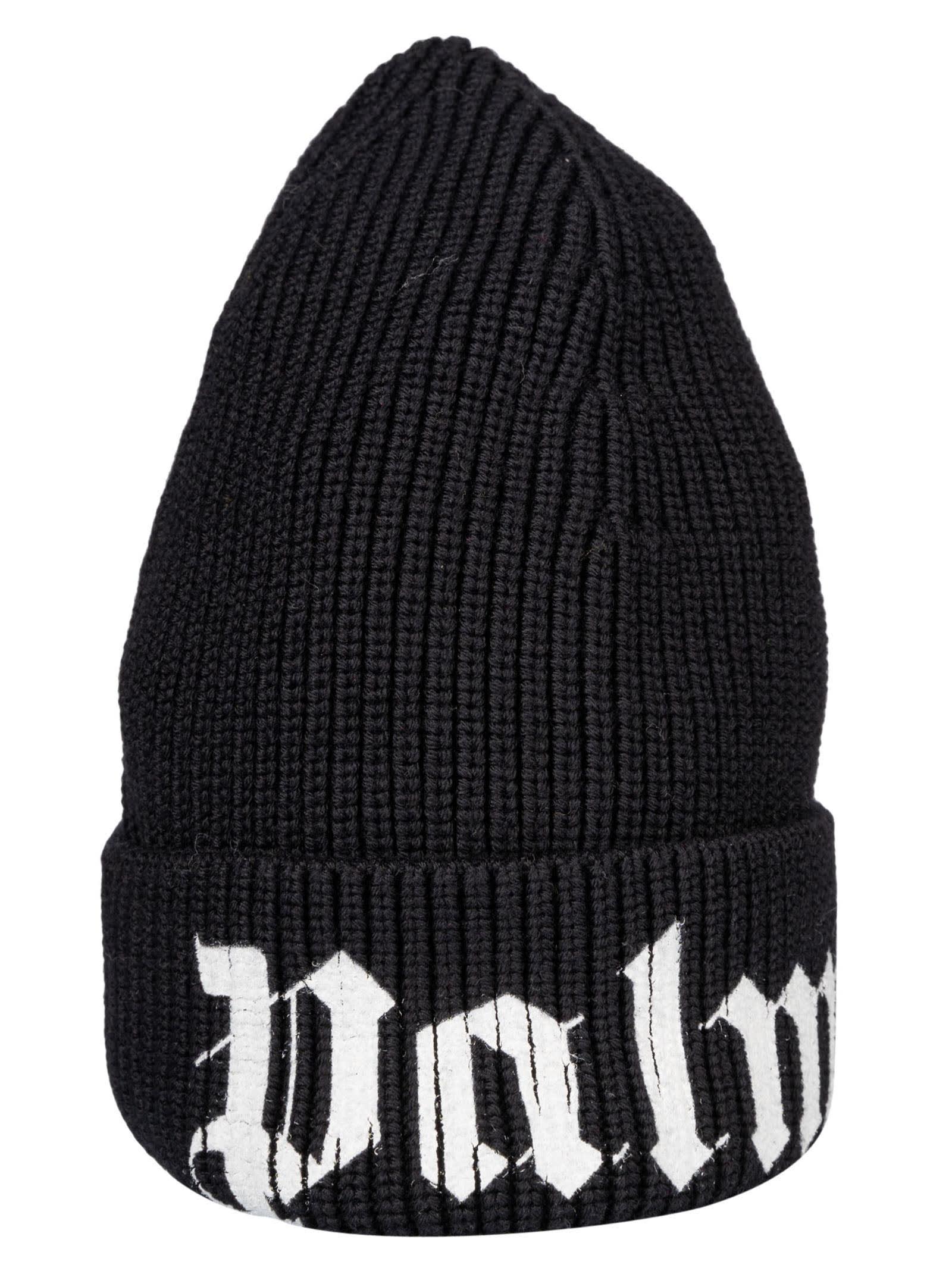 Palm Angels Logo Print Knit Beanie In Black/white