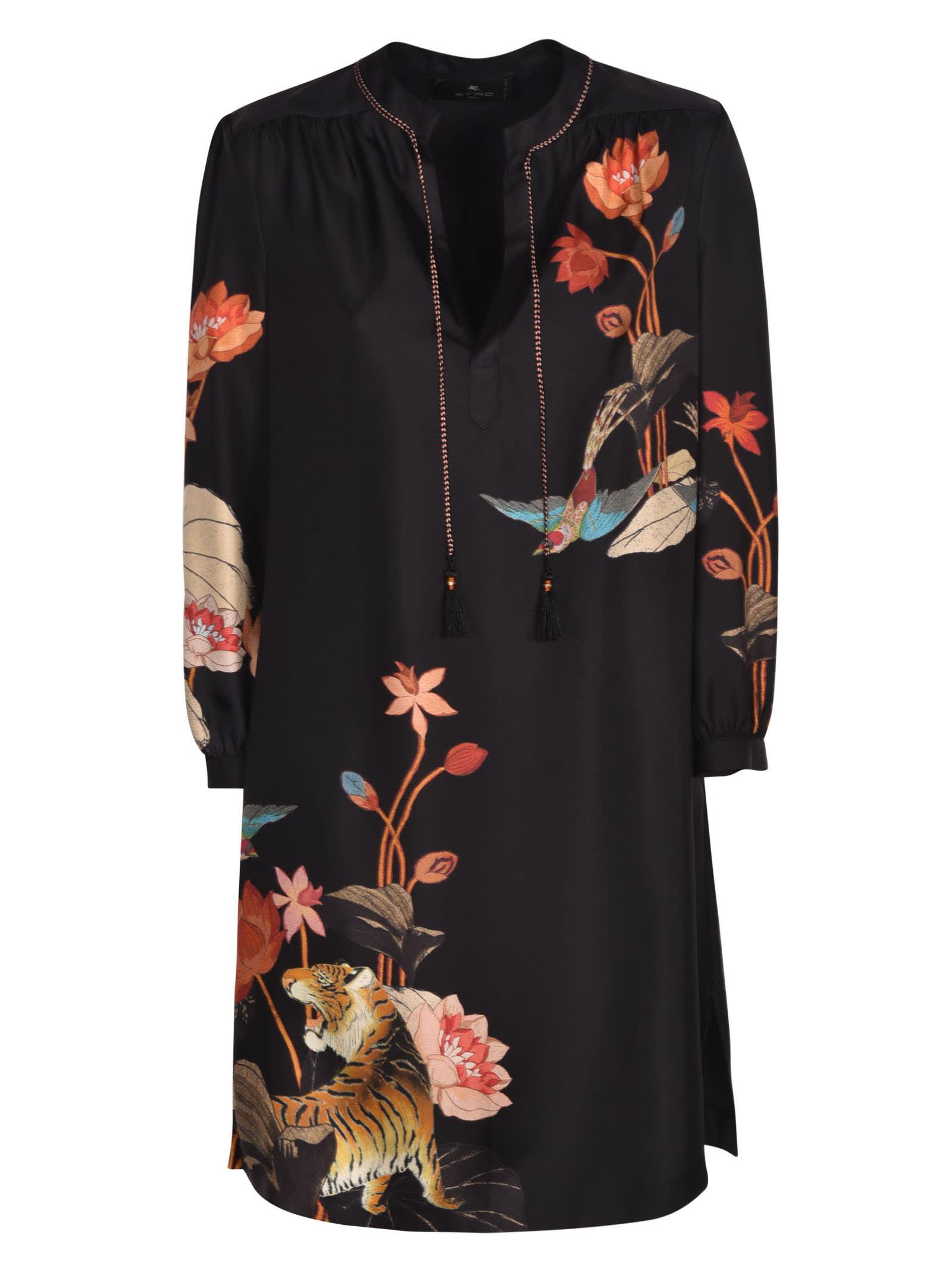Etro TIE-NECK TIGER PRINT DRESS