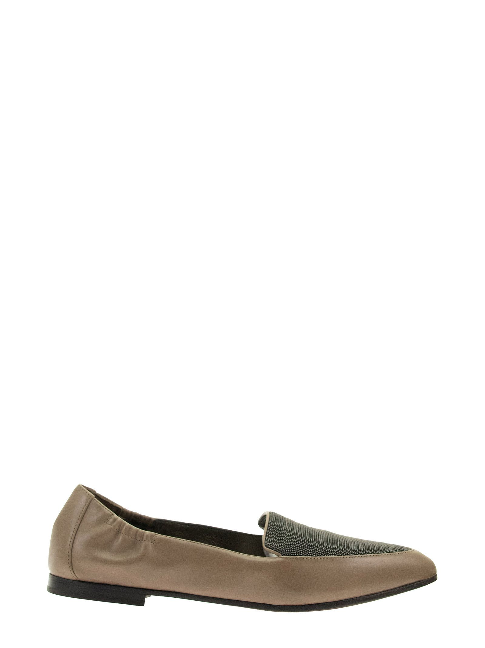 Brunello Cucinelli MOCCASINS SMOOTH CALFSKIN FLATS WITH PRECIOUS VAMP