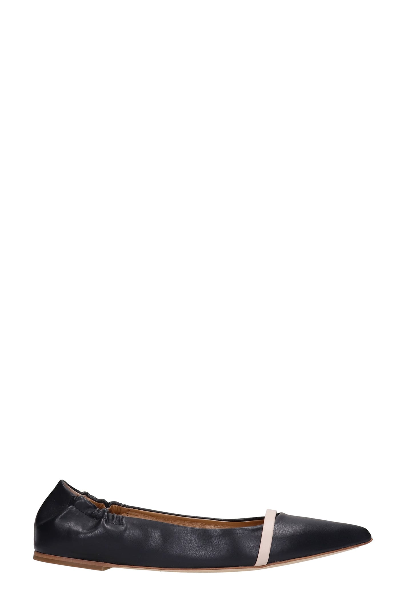 Malone Souliers RAYA BALLET FLATS IN BLACK LEATHER