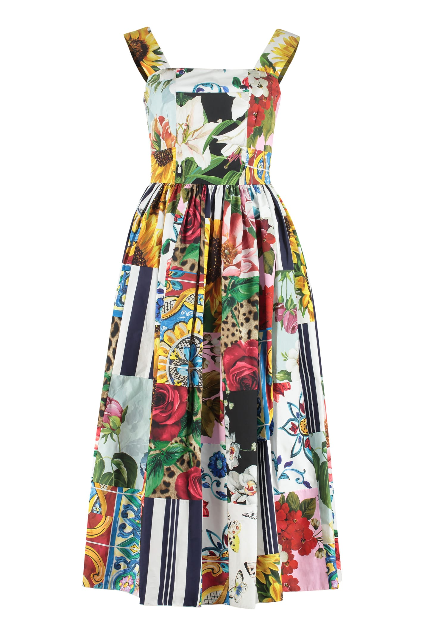 Buy Dolce & Gabbana Printed Cotton Maxi Dress online, shop Dolce & Gabbana with free shipping