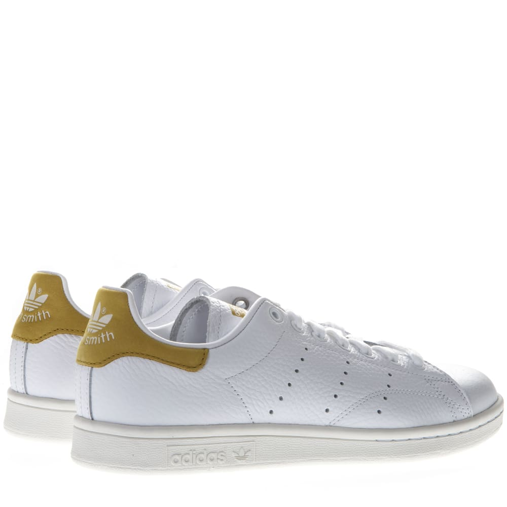 the latest 85bfd 9de6a Adidas Originals Stan Smith White Leather And Gold Suede Sneakers