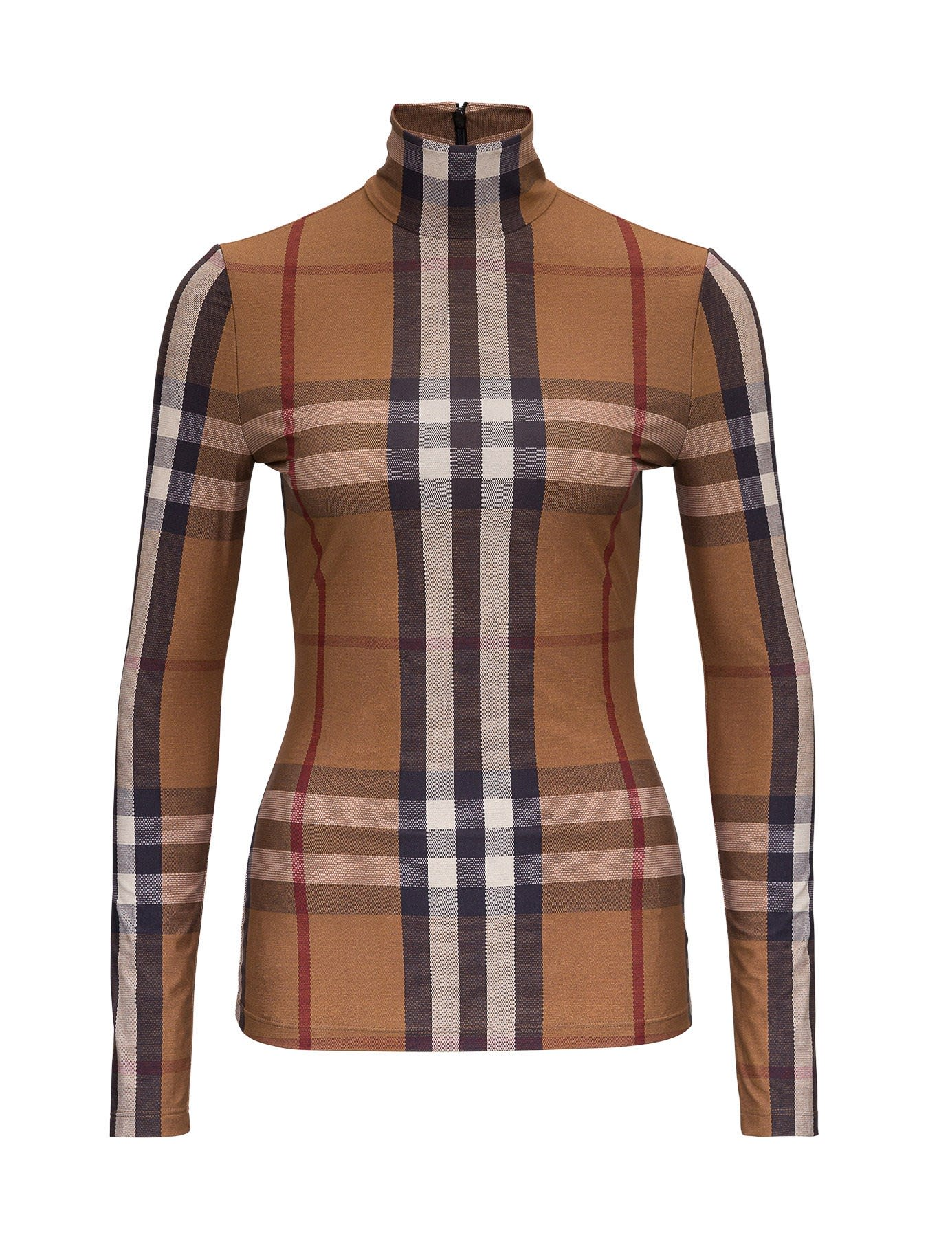 Burberry VINTAGE CHECK PATTERN TURTLENECK TOP IN STRETCH JERSEY