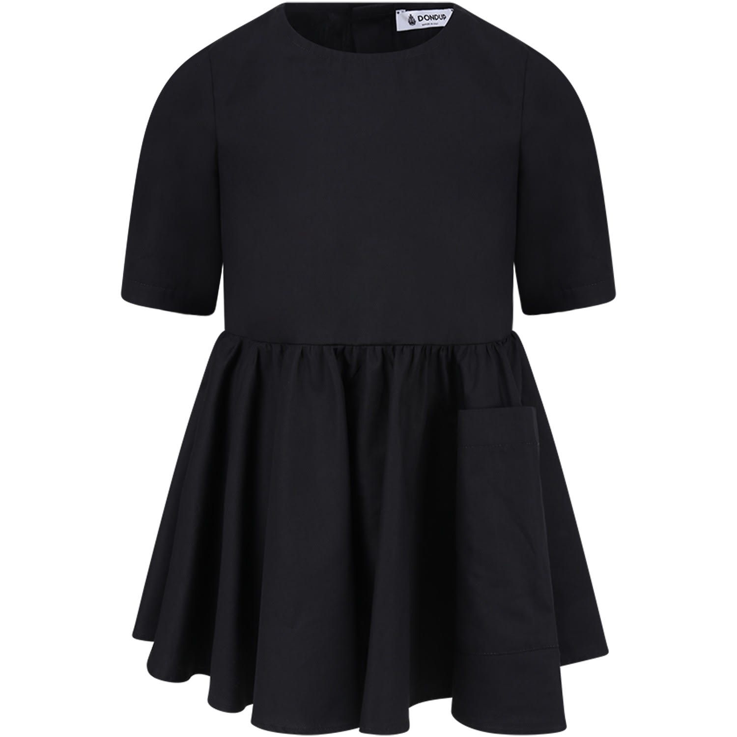 Dondup Black Girl Dress With Iconic D
