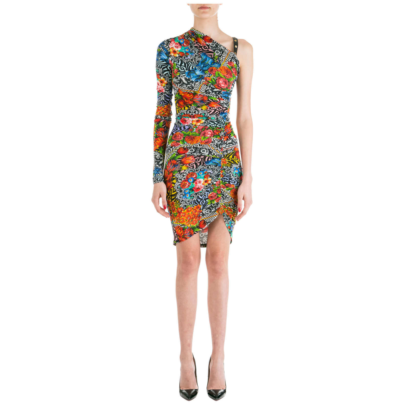 Versace Jeans Couture Knee Length Dress Long Sleeve Optical Flowers