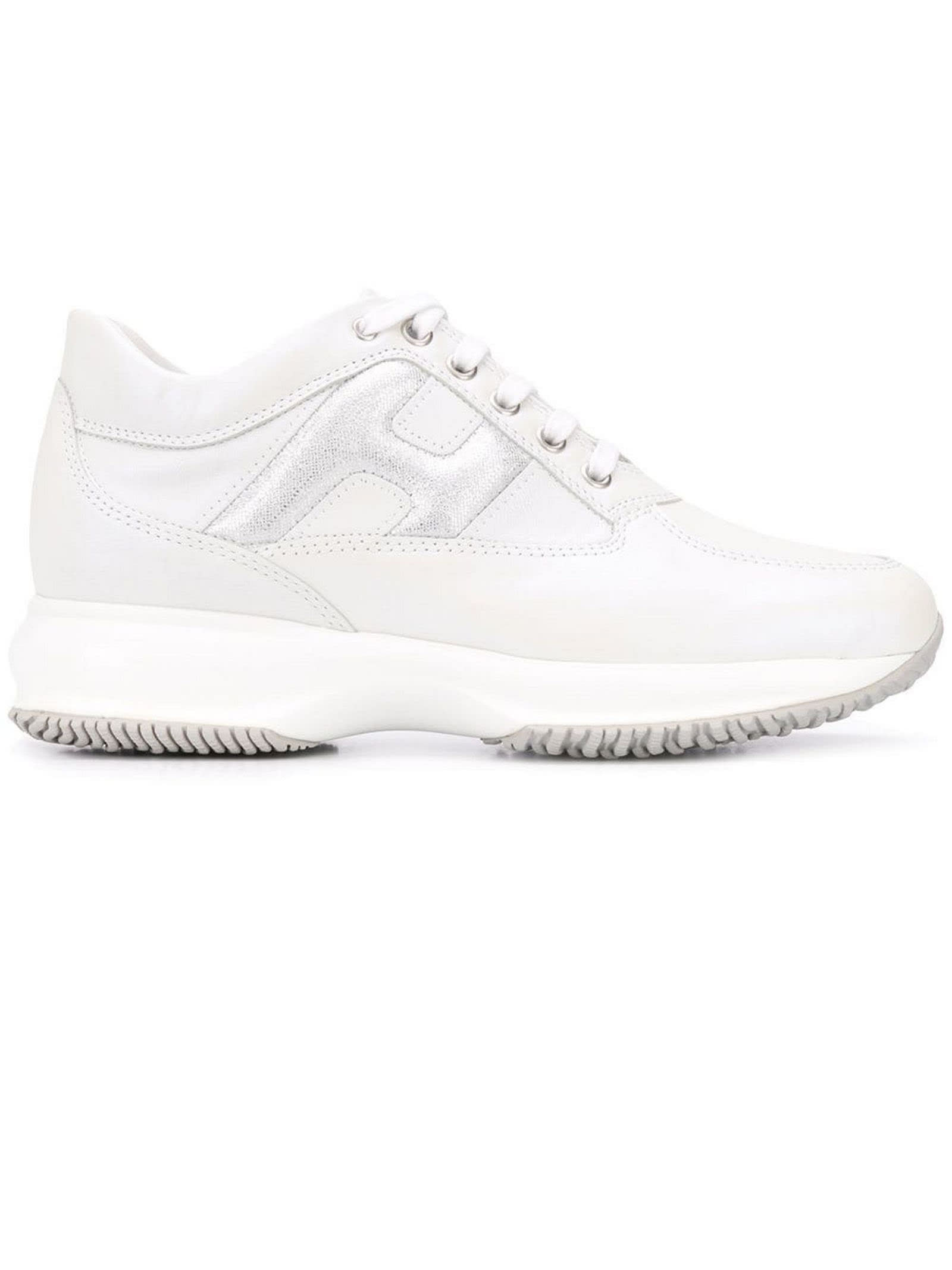 Shop Hogan White Interactive Sneakers In Argento bianco