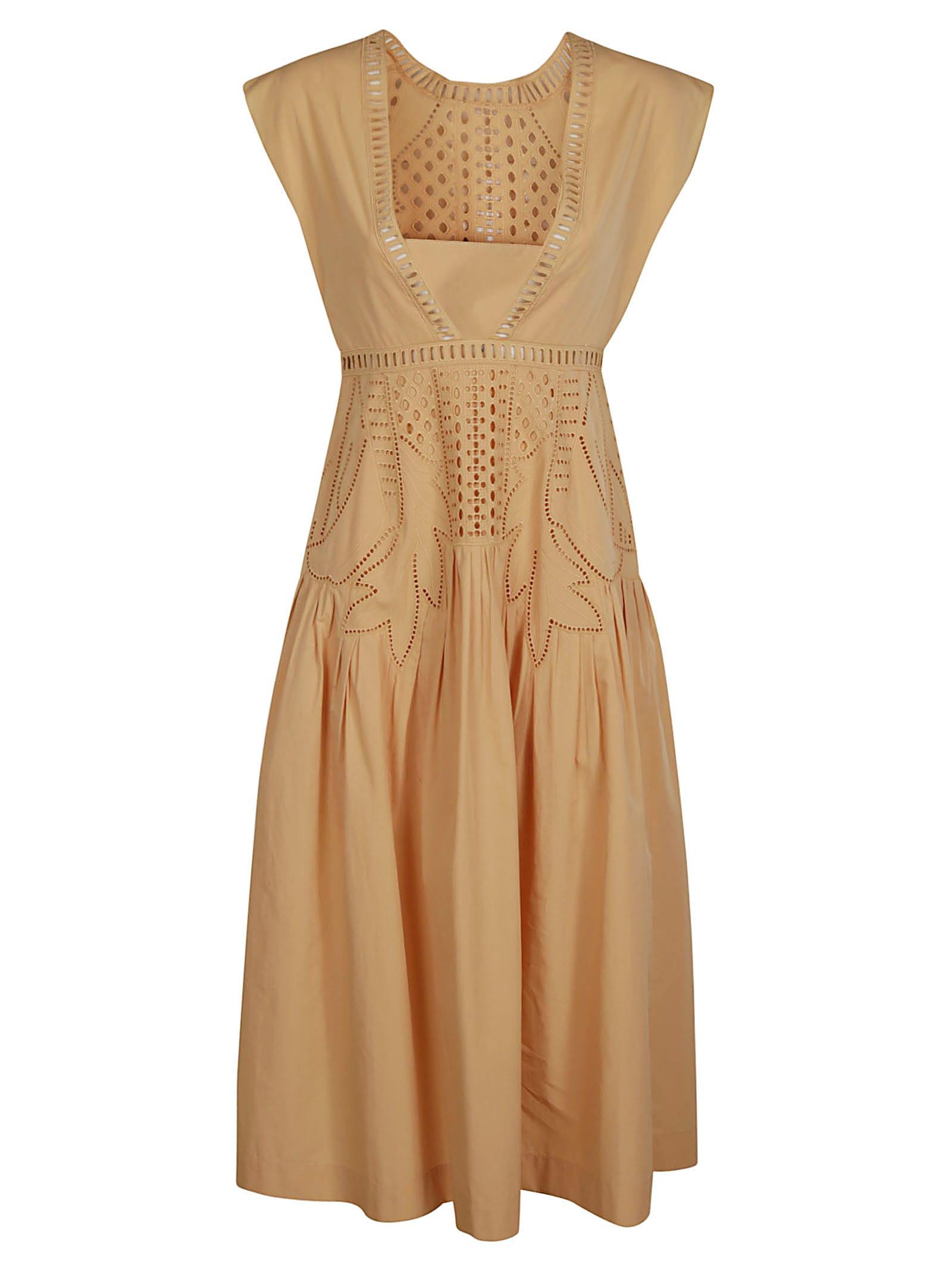 Alberta Ferretti Perforated Sleeveless Dress