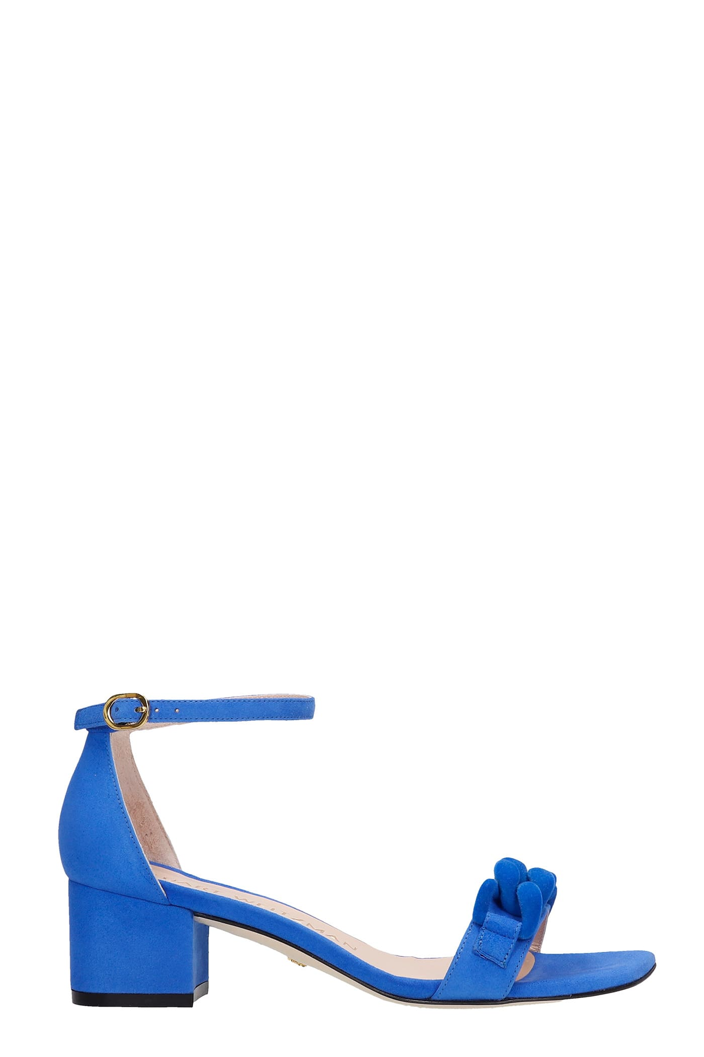 Buy Stuart Weitzman Amelina 50 Sandals In Blue Suede online, shop Stuart Weitzman shoes with free shipping