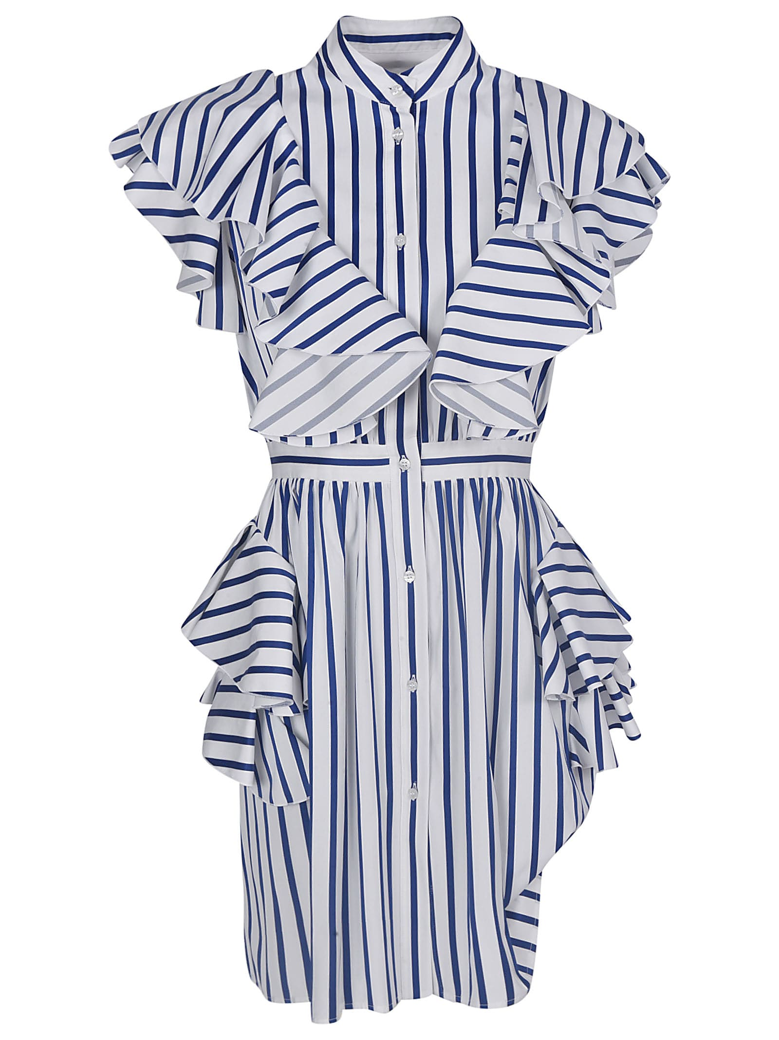 Buy MSGM Stripe Ruffled Stripe Dress online, shop MSGM with free shipping