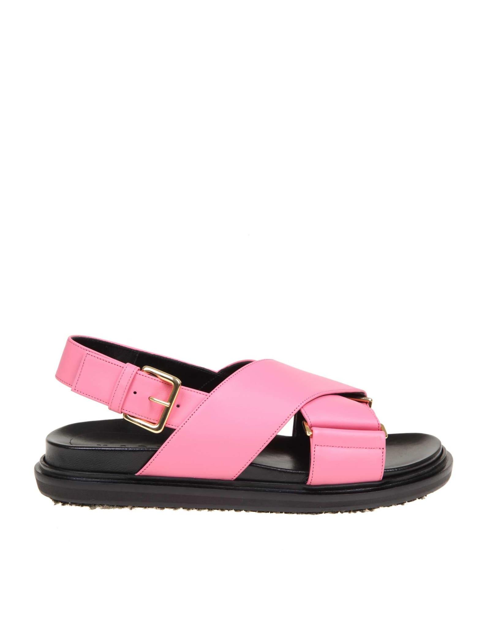 Marni Fussbett Leather Sandals In Fuchsia Color