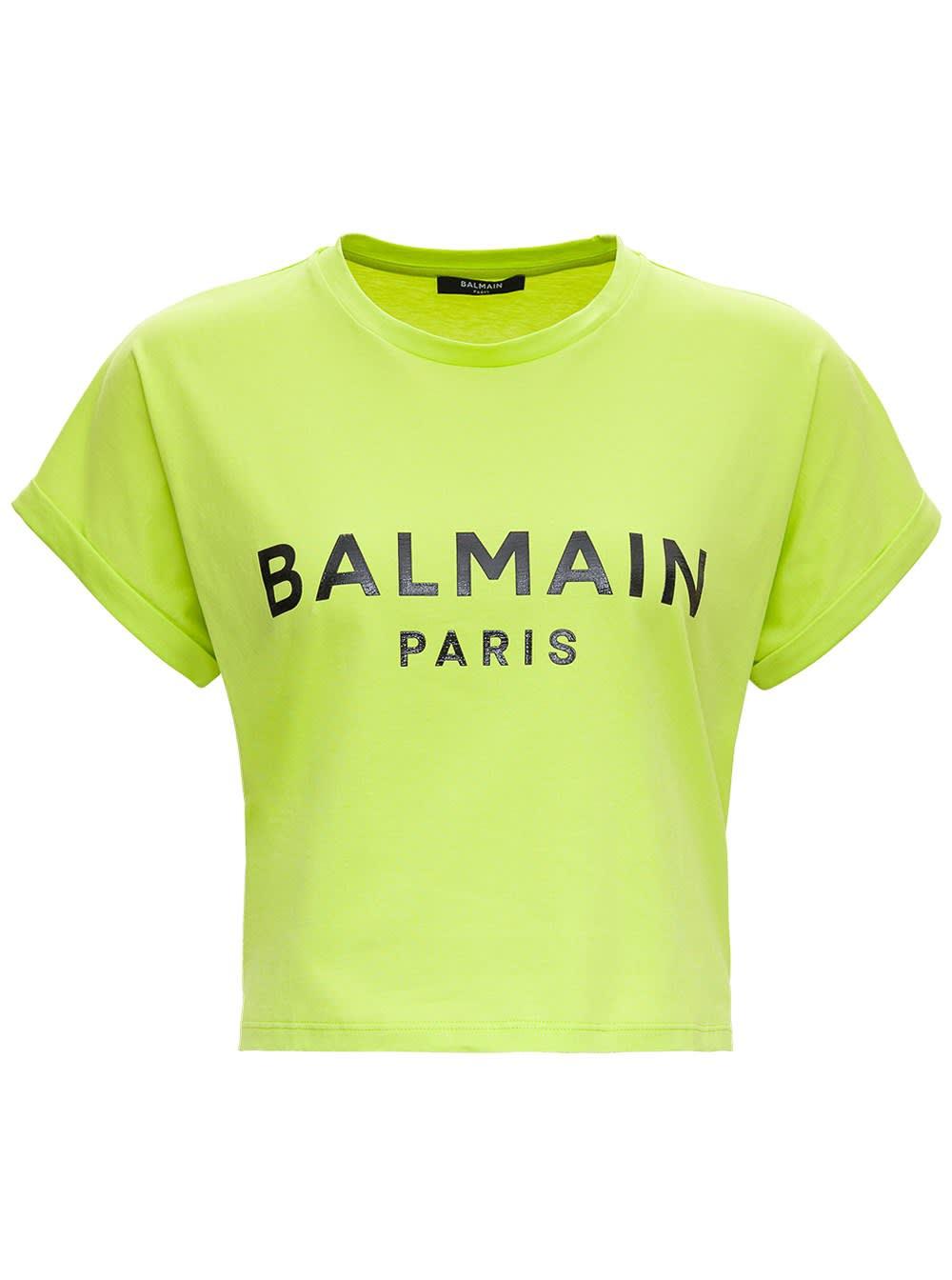 Balmain GREEN JERSEY CROP T-SHIRT WITH LOGO PRINT