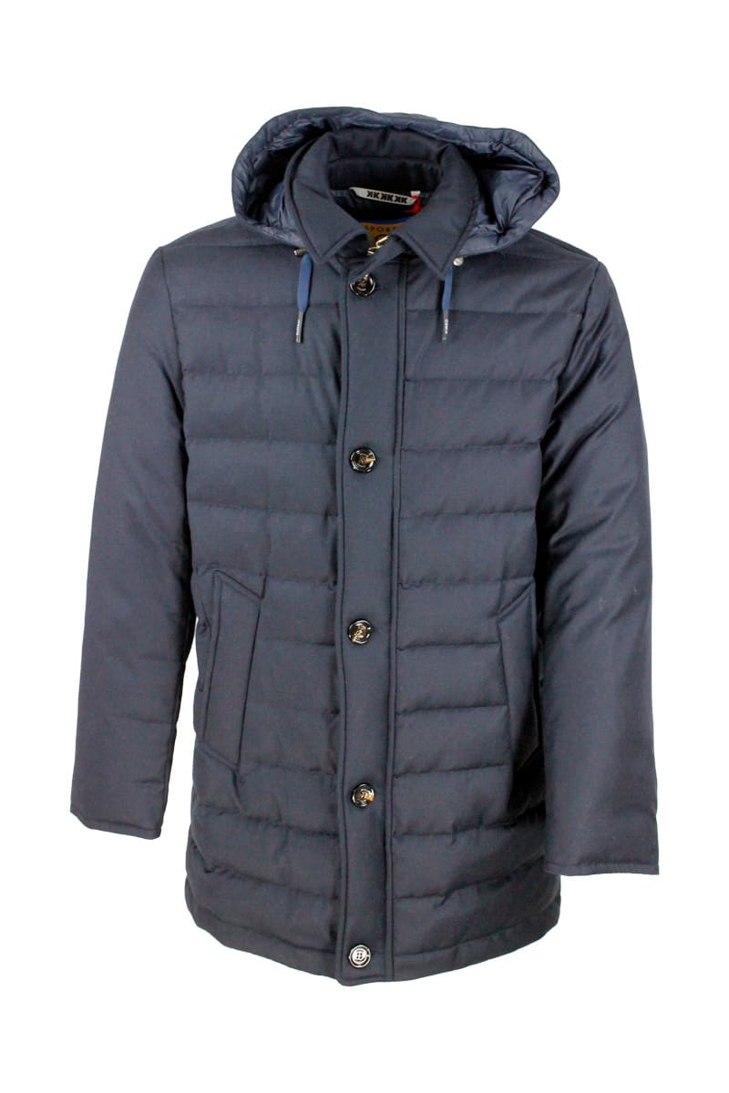 Coat In Wool And Cashmere Padded With Real Goose Down With Detachable Hood. Zip And Button Closure And Welt Pockets