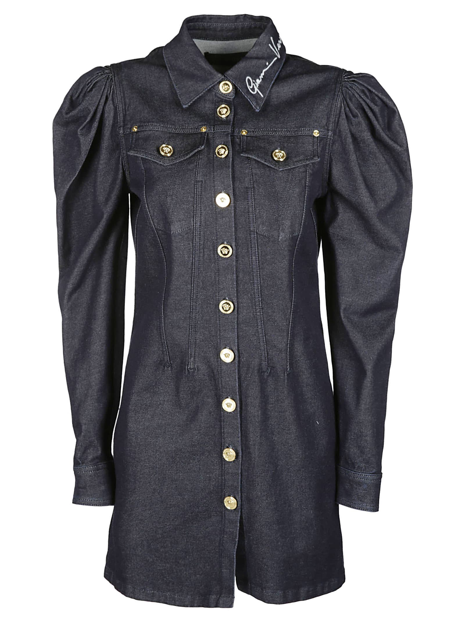 Buy Versace Button Up Denim Dress online, shop Versace with free shipping