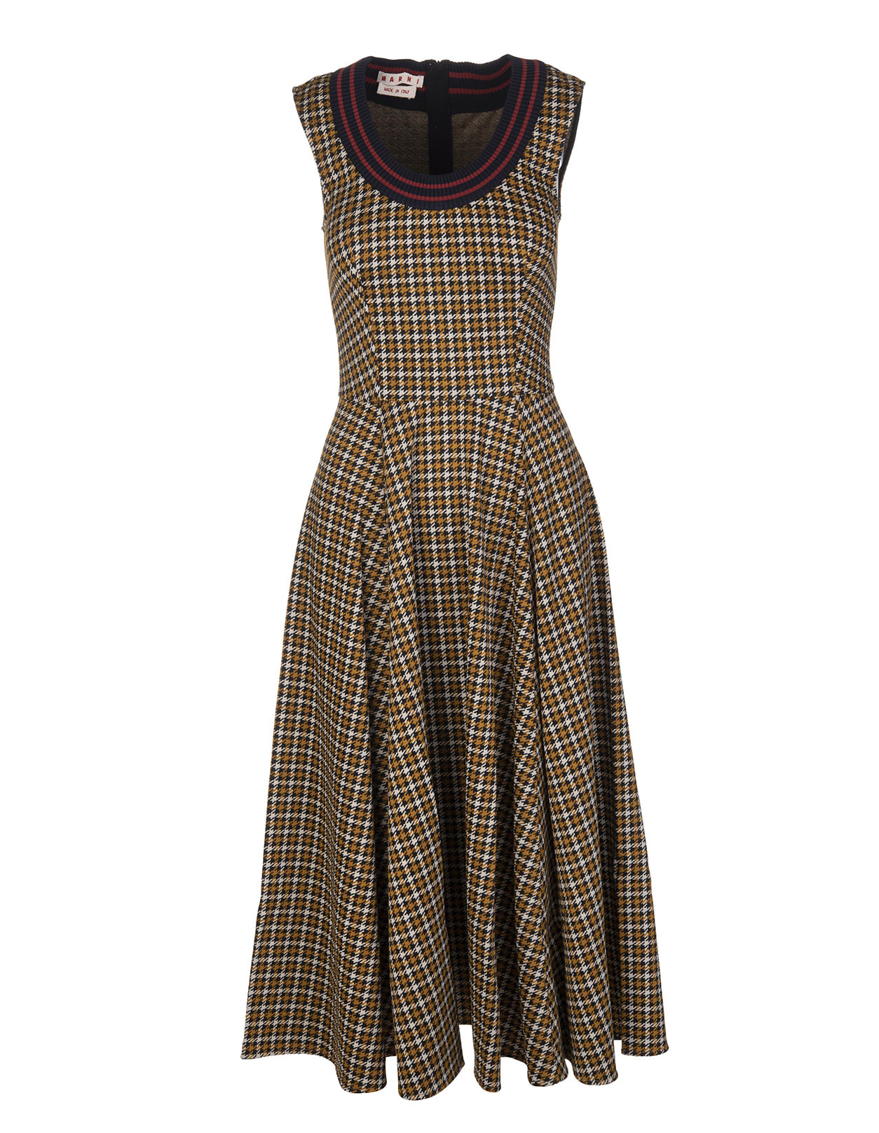 Buy Marni Sleeveless Midi Dress With Black, Ivory And Camel Houndstooth Pattern online, shop Marni with free shipping