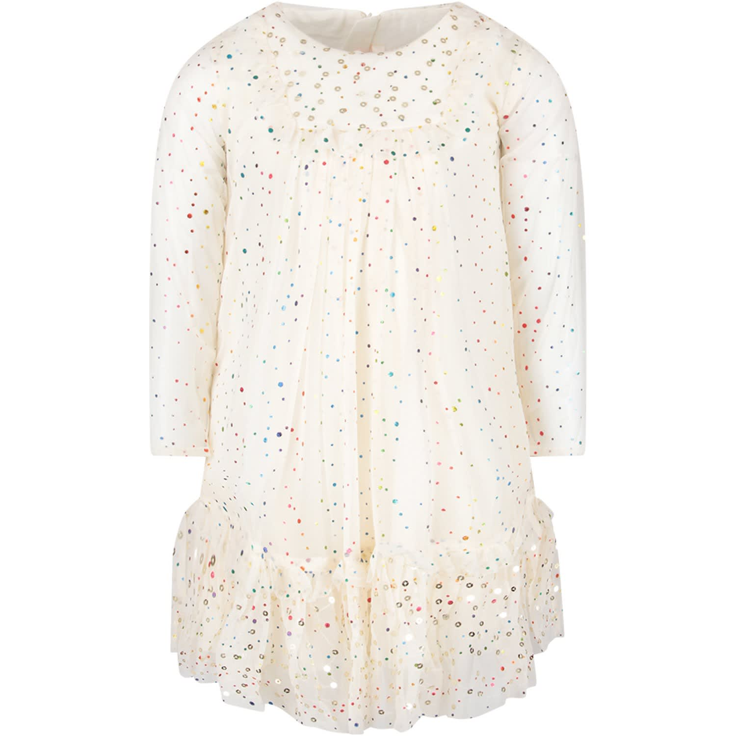 Billieblush Ivory Tulle Girl Dress With Colorful Polka-dots