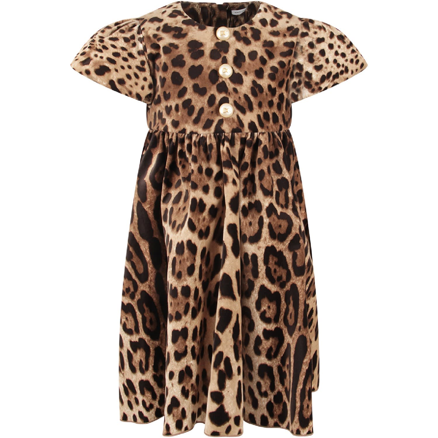 Buy Dolce & Gabbana Brown Girl Dress With Animalier Print online, shop Dolce & Gabbana with free shipping
