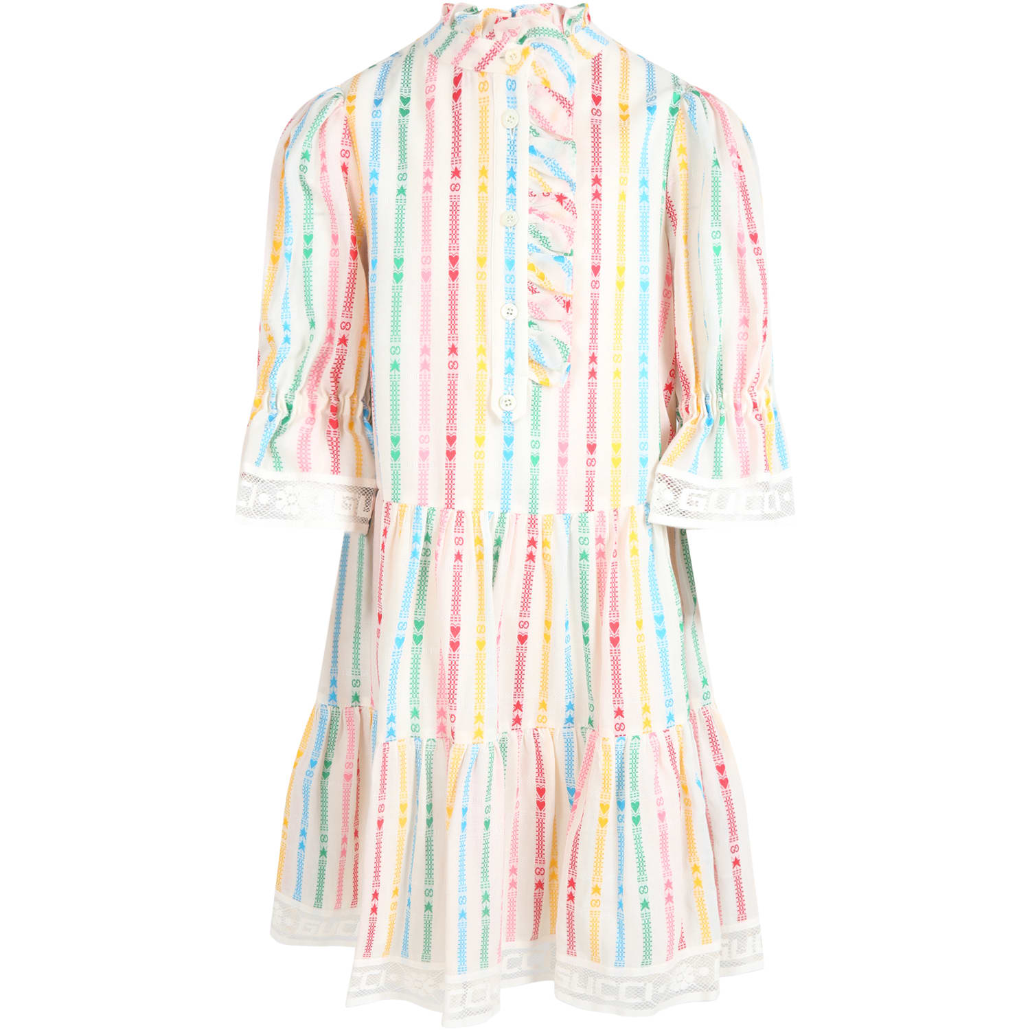 Buy Gucci White Dress For Girl With Double Gg online, shop Gucci with free shipping