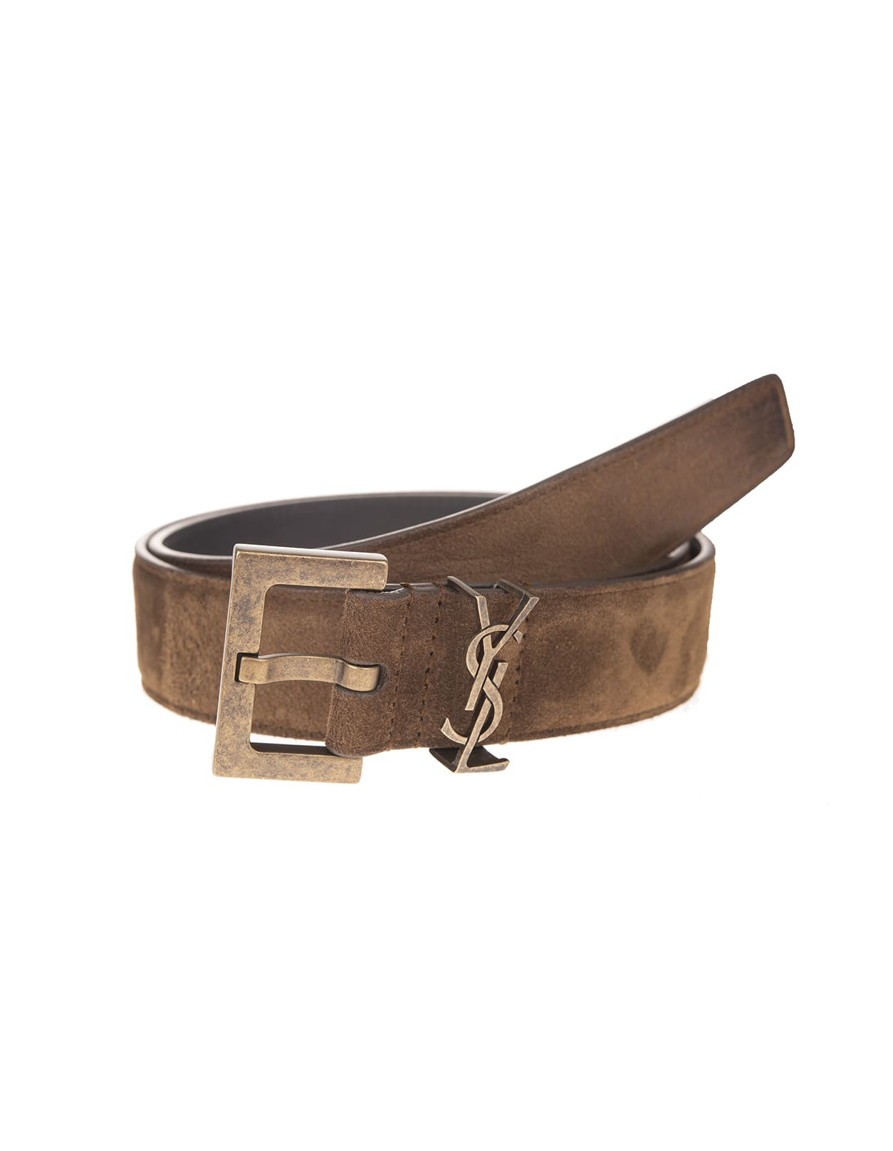 Monogram Woman Belt In Light Brown Suede