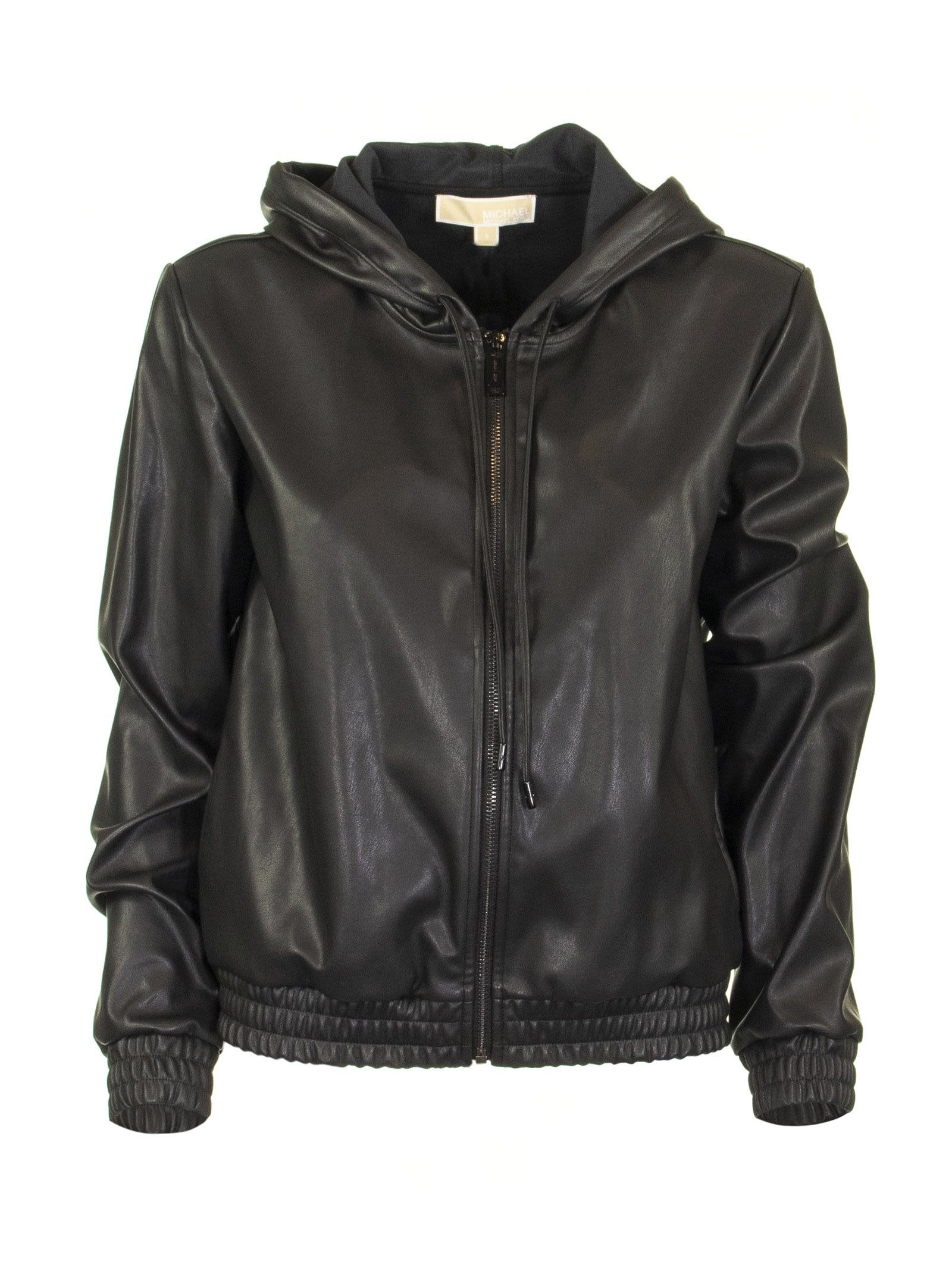Michael Kors Faux Leather Zip-up Hoodie