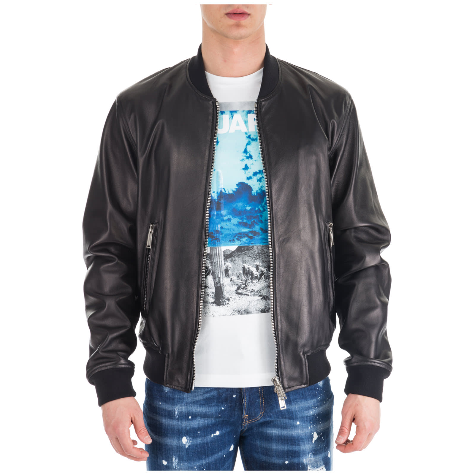 check out eae91 d8d95 Dsquared2 Outerwear Jacket Blouson In Pelle Aviator Bomber