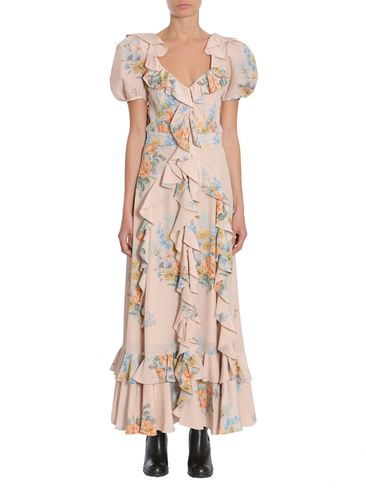 Buy Alexander McQueen Floral Print Ruched Silk Dress online, shop Alexander McQueen with free shipping