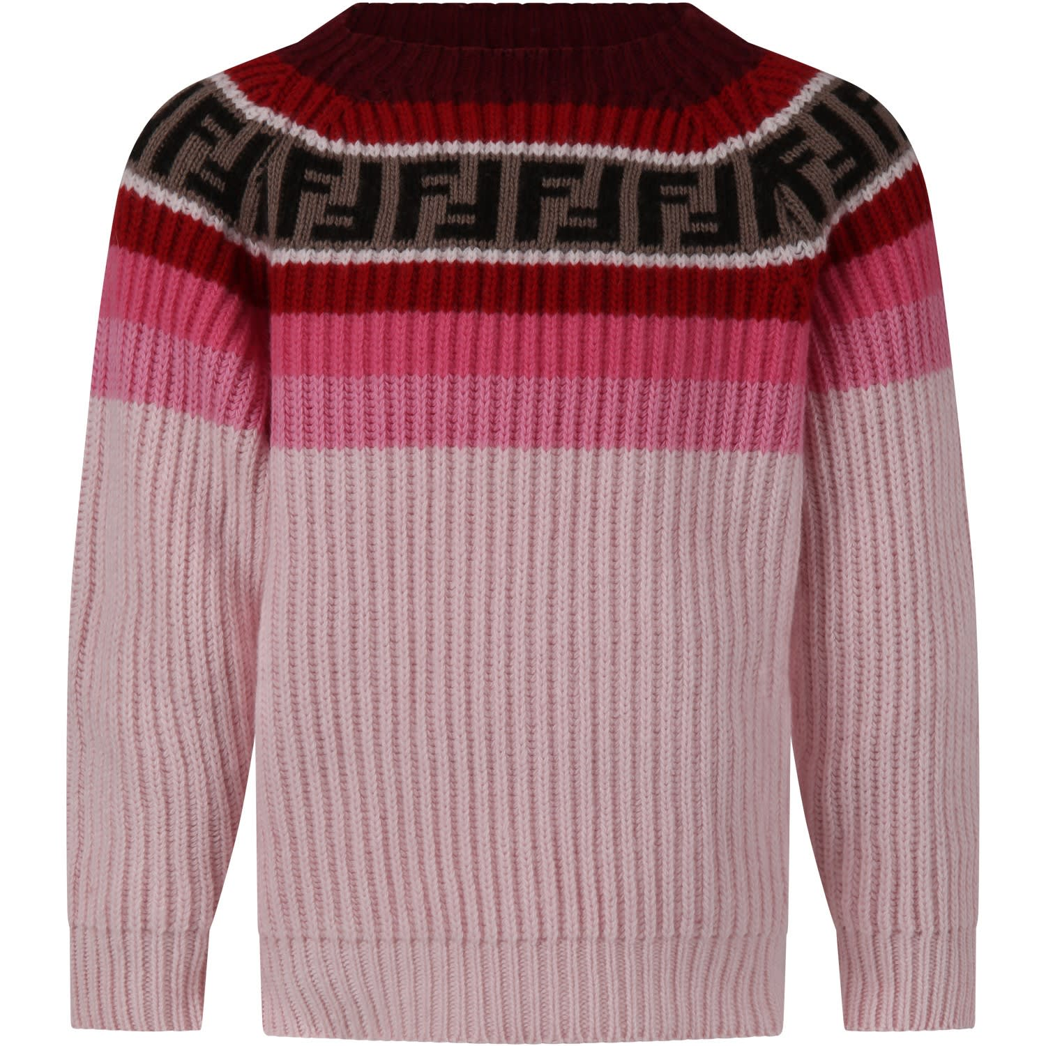 Fendi Sweaters PINK SWEATER FOR GIRL WITH DOUBLE FF